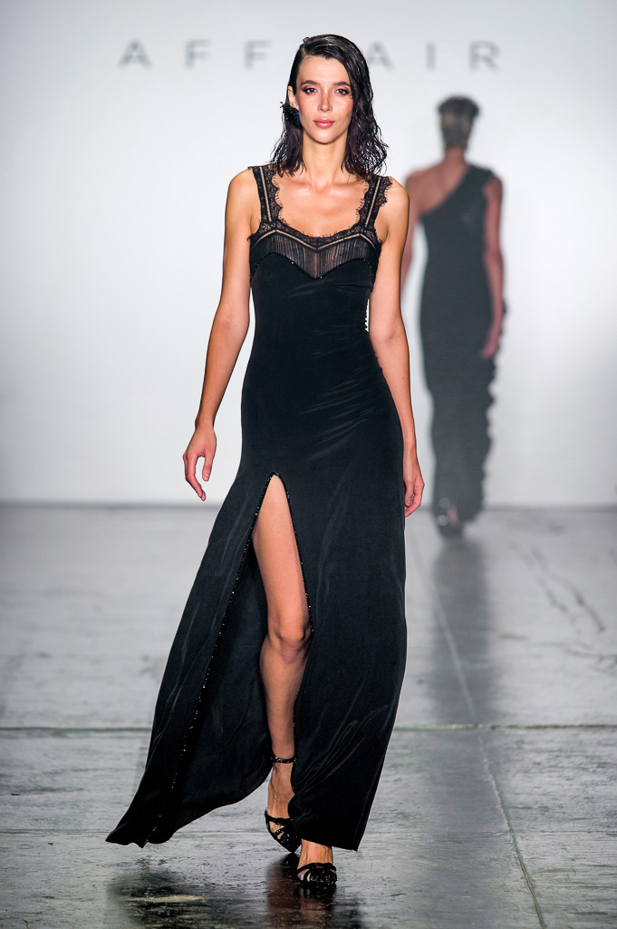 Long dress with Lace Straps, High Side Slit and Semi-Precious Stones Decoratio on Chest