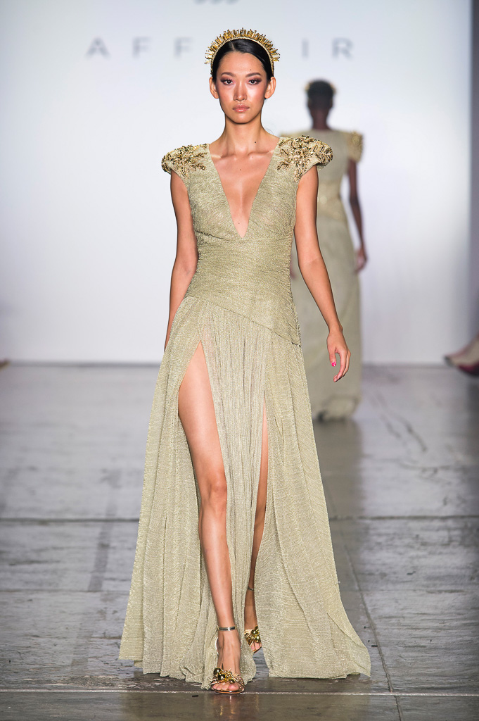 Long Dress with Deep V-cut, Double High Slit and Handmade Embroidery on Shoulders