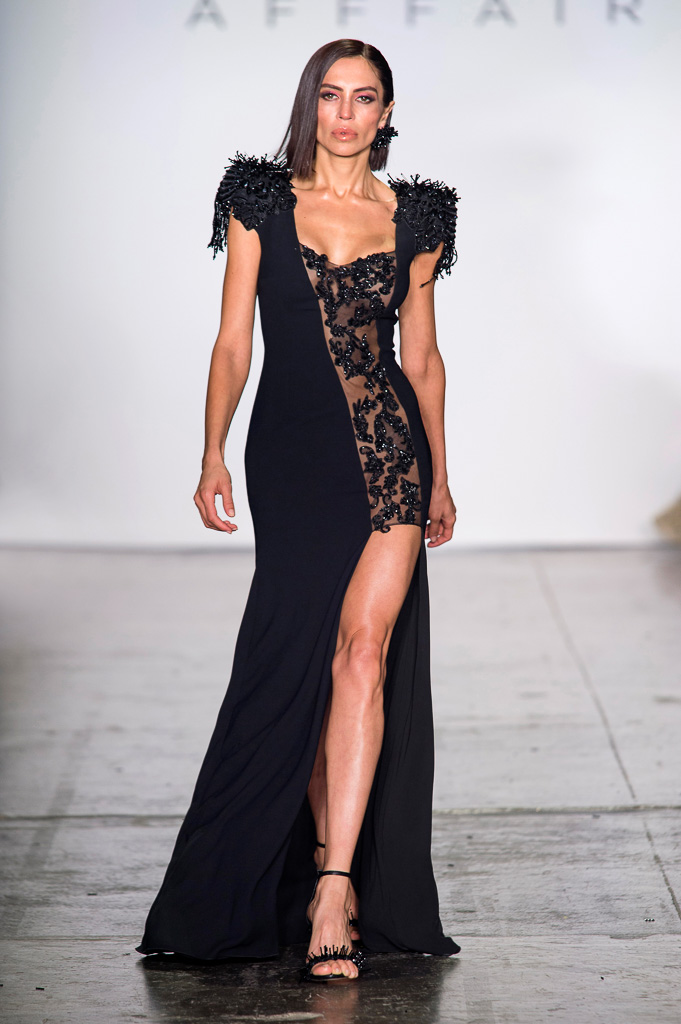 Maxi Dress with High Side Slit and Asymmetric Mesh Body Insert Decorated with Semi-Precious Stones on Shoulders